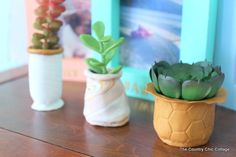 Have your kids create unique clay pots for your indoor plants! Try this easy DIY planter project today! Succulent Planter Diy, Diy Planters, Cacti And Succulents, Planting Succulents, Succulent Cupcakes, Quick Crafts, Craft Stick Crafts, Clay Crafts, Camping Crafts For Kids