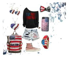 """USA"" by gurveenpanesar ❤ liked on Polyvore featuring John Beard Collection and Converse"