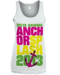 Anchor Splash T-shirt on white tank top.
