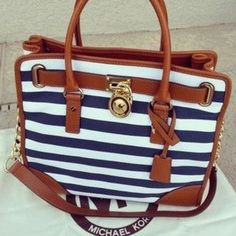 Fashion: Michael Kors Striped Lock Large Navy Totes