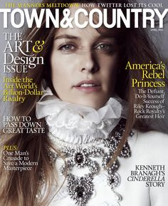 Riley Keough looks like royalty as she wears a high-collared look from Chanel on the Town & Country April 2015 cover.