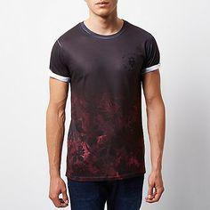 4f98b2b71c568 Black faded floral print T-shirt Fade To Black
