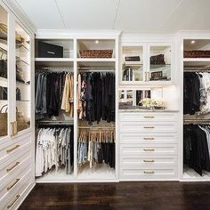 Dec 2019 - Large custom walk-in closet features white cabinets with brass pulls, marble countertops and glass front cabinet doors. Master Closet Design, Custom Closet Design, Walk In Closet Design, Master Bedroom Closet, Closet Designs, Closet Walk-in, Dresser In Closet, Built In Dresser, Build A Closet