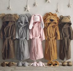 Animal Bath Slippers and robes -- adorable!