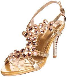 f77cbcae67610 YooPrettyz Women Shining Heeled Sandal Ankle Strap Sandal Slingback Dress  Sandals Gold 7    Check