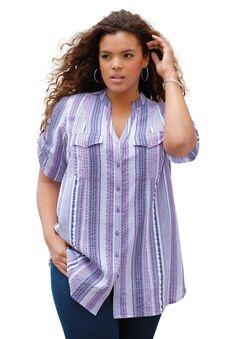 Plus Size Roaman's® Seersucker Shirt