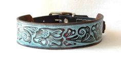 Tooled Western Leather Dog Collar, Black with Turquoise Inlaid Color.  OOAK