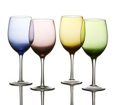 Napa Colors Glass Set of 4 Wine Goblets by Fifth Avenue Red Blue Green Yellow #FifthAvenue