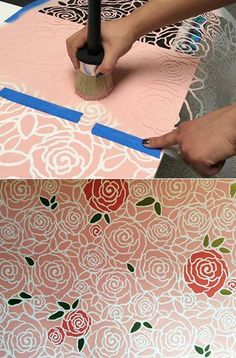 We love to play around with inserting surprising paint colors in our stencils here and there.