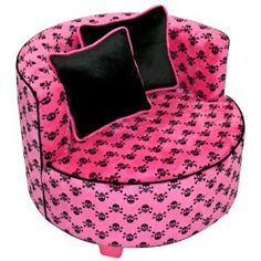 Hot Pink and Skulls Teen Chair