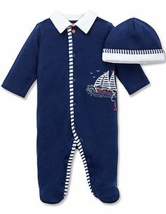 Little Me Baby Boys' Sailor Coverall & Hat