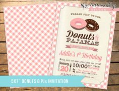 Donuts and PJs Pajamas Birthday Invitation by 3LittleMonkeysStudio, $15.00