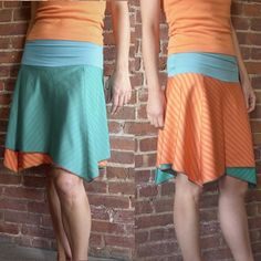 Reversible Skirt in Turquoise and Orange  S  4/6 by rocksandsalt, $68.00