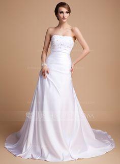 Wedding Dresses - $172.99 - A-Line/Princess Sweetheart Chapel Train Charmeuse Wedding Dress With Beadwork (002014492) http://jjshouse.com/A-Line-Princess-Sweetheart-Chapel-Train-Charmeuse-Wedding-Dress-With-Beadwork-002014492-g14492