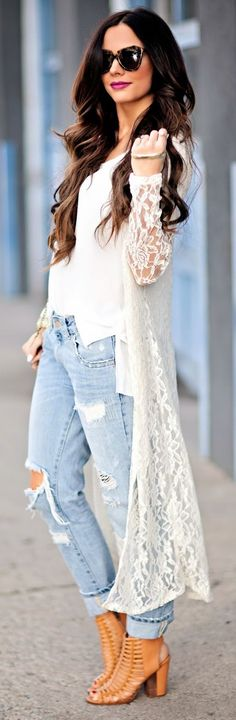 ╰☆SEX And The CITY 2☆╮  **Windsor Ivory Lace Maxi Kimono**