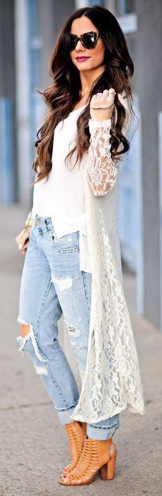 Kimono con tela de encaje...esta tela tiene una tendencia este verano! Se viene en todas las prendas!