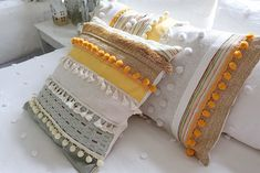 Summer Decorating Ideas with Joann - My 100 Year Old Home Old Benches, Bench Covers, Ceramic Houses, Flower Branch, Back Pieces, Sewing Pillows, Fabric Remnants, Wooden Crates, Pillow Forms