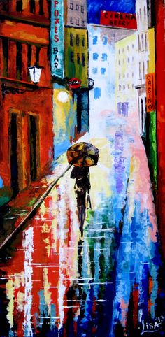 Original Abstract Painting - rainy street  - Acrylic Contemporary Art - Ready To Hang On The Wall. $155.00, via Etsy.