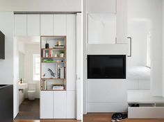 Seriously smitten with this tiny apartment designed by architect Brad Swartz. His clever and carefully considered design has created a contemporary and spacious feeling apartment in inner-Sydney that's actually under 30 square metres! Small Apartment Furniture, Small Apartment Design, Small Room Design, Small Apartment Decorating, Apartment Interior, Apartment Living, Studio Apartment Layout, Small Studio Apartments, Studio Layout