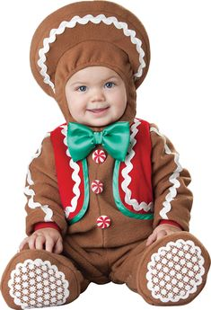 incharacter costumes babys sweet gingerbaby costume brown x small lined zippered jumpsuit with attached vest hood with rickrack trim and booties