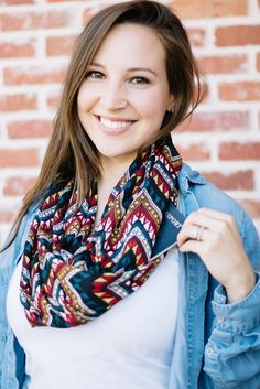 Travel Scarf - Hold your passport and more!!   Multi Colored Chevron Infinity Scarf with Pocket