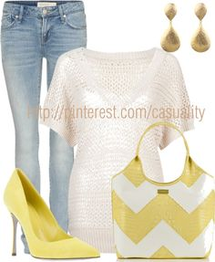 """""""Yellow & White Chevron Stripes"""" by casuality on Polyvore"""
