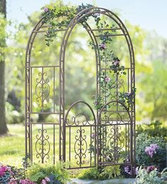 Plow & Hearth Burnished Bronze Finished Iron Montebello Garden Arbor with Gate