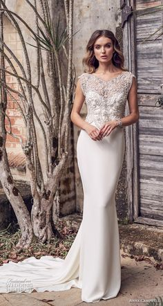 anna campbell 2019 bridal cap sleeves v neck heavily embellished bodice  glitzy romantic sheath wedding dress 379c056e3b24