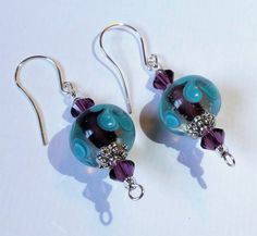 Dark Purple & Teal Lampwork Glass Beaded Earrings w/Swarovski Crystal and Tibetan Silverplated Accents, Purple and Silver Swarovski Earrings by CrystalCofferDesigns on Etsy