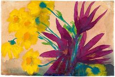 "Flowers (yellow and purple)"" by Emil Nolde. C. 1930-35, watercolor on Japan"