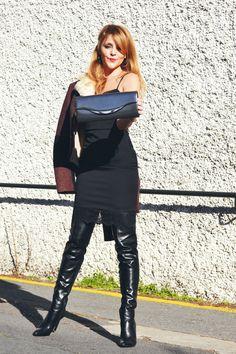 Latex Fashion, Ootd Fashion, Fashion Boots, Fashion Models, Womens Fashion, Gothic Fashion, Thigh High Boots Heels, High Leather Boots, Leather Dresses