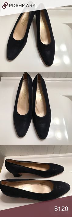 Salvatore Ferragamo Billon Navy Suede Heels 10B Salvatore Ferragamo Billon Navy Suede Heels 10B. These are Classic Salvatore Ferragamo. Navy Pebbled Suede Pumps. Gently Worn.  Shows minor wear and very light scuffing (please see pictures) 🚫trades. Please ask all questions prior to buying Ferragamo Shoes Heels