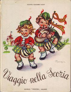 Viaggio nella Scozia.  Scottish vintage illustrations.  .....bagpipes