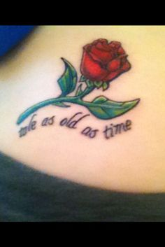 Beauty and the beast disney tattoos Rose Tattoos, Body Art Tattoos, New Tattoos, Small Tattoos, Tatoos, Fandom Tattoos, Ankle Tattoos, Arrow Tattoos, Friend Tattoos