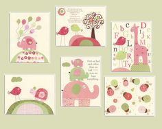 Nursery wall print Baby girl room decor Set of 6 by DesignByMaya, $95.00