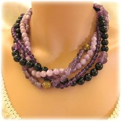 Alice Kuo Four Stand Amethyst Necklace.  Her work collected by some famous names. SOLD