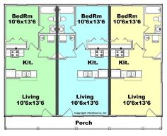 triplex house plans-- 1,387 s/f ea unit---3 beds + 2 ba - google