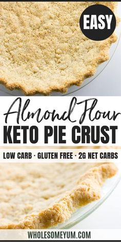 Almond Flour Pie Crust Recipe 5 Ingredients (Paleo Low Carb Gluten-free) - This low carb paleo almond flour pie crust recipe is so easy to make. Just 5 minutes prep and 5 ingredients! Gluten-free sugar-free dairy-free and keto. Keto Friendly Bread, Keto Friendly Desserts, Low Carb Desserts, Low Carb Recipes, Healthy Recipes, Sweet Recipes, Keto Bread Coconut Flour, Almond Flour Pie Crust, Almond Flour Recipes