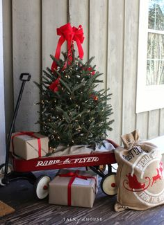 Christmas tree in wagon