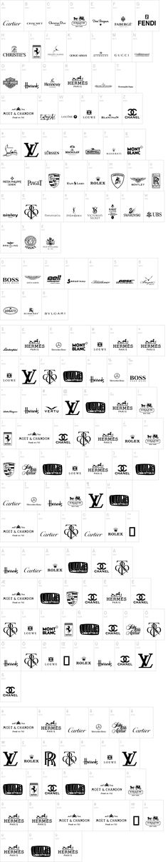 fashion designer / logos / cars / top brands and their logos / black and white / branding / identity / alphabet / inspiration logo, Luxury Brands Font Fashion Logo Design, Fashion Branding, Fashion Brand Logos, Luxury Font, Luxury Branding, Typography Logo, Logo Branding, Branding Ideas, Brand Identity