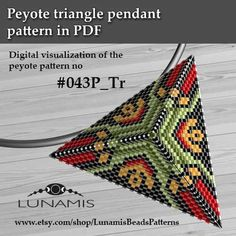 Peyote triangle patterns, pattern for triangle pendant, peyote patterns, beading, peyote stitch, digital file, pdf pattern #043P_Tr