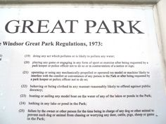 Great Park rules and regs; some of these are just plain miserable!