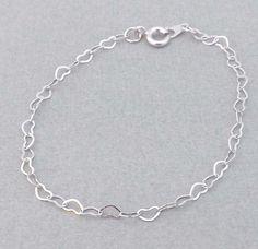 Silver Heart Bracelet-Bridesmaids,bestfriend,Wife,Girlfriend Gift--simple,dainty jewelry by jewelrycraftstudio on Etsy https://www.etsy.com/listing/100287174/silver-heart-bracelet