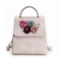 MENGXILU Brand Leather Women Backpack Female Japan and Korean Style Trend  Three-dimensional Flower Shoulder Bag Women s Backpack(China) 7cf4f23108adc