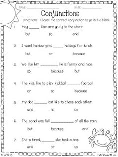 Conjunctions Worksheet First Grade: Circle the Conjunctions Worksheet for Grade One   Free to print    ,