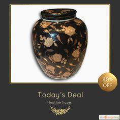 """Today Only! 40% OFF this item. Follow us on Pinterest to be the first to see our exciting Daily Deals. Today's Product: Sale -  12.5"""" Extra Large \ Wide Black & Gold Antique Ginger Jar Buy now: https://orangetwig.com/shops/AABdT38/campaigns/AACmnzZ?cb=2016006&sn=Heathertique&ch=pin&crid=AACmnnp&exid=273191490&utm_source=Pinterest&utm_medium=Orangetwig_Marketing&utm_campaign=05-02-16   #vintagefurnitureonline #homedecor"""