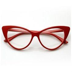 c8d12552f030 zeroUV - Super Cat Eye Glasses Vintage Inspired Mod Fashion Clear Lens  Eyewear (Red)