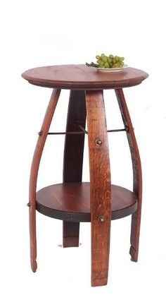 NEW AUTHENTIC WINE BARREL & STAVE BISTRO TABLE WITH SHELF
