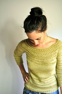 Drift is knit seamlessly from the top down and features a simple yoke construction that is adorned with a pretty eyelet pattern that is continued down through the sleeves. Slight waist shaping adds a flattering fit to the garment which has an overall casual structure that looks great with a pair of jeans or worn over a spring dress. Knit in fingering weight yarn, Drift makes a fabulous transitional piece that can be worn in the spring and autumn months.