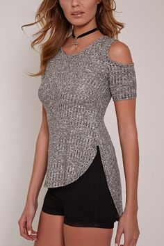 The gray top is made in a sexy style  and features a round neckline, cold shoulder, asymmetrical and curve hem and short sleeves. Killer with leggings to show your good shape.